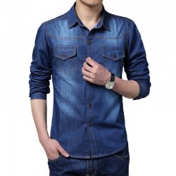 Shirt Navy Blue Men's Jeans Jacket Thin Sport Casual Formal Modern