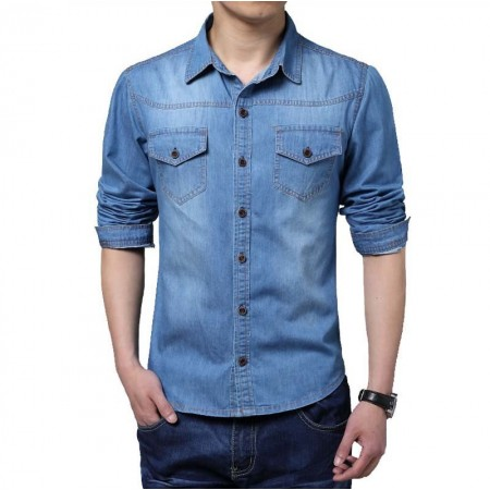 Shirt Blue Men's Jeans Jacket Thin Sport Casual Formal Modern