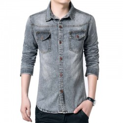 Shirt Gray Men's Jeans Jacket Thin Sport Casual Formal Modern