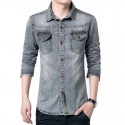 Shirt Gray Men's Jeans Jacket Thin Sport Casual Formal Modern