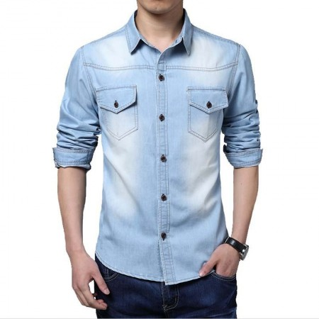 Shirt Light Blue Men's Jeans Jacket Thin Sport Casual Formal Modern