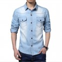 Camisa Azul Claro Jeans Lavado Masculina Jaqueta Esporte Fino Casual Moderna Social