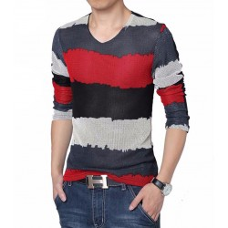 V-Neck T-Shirt Red Long Sleeve Striped Knitted Classic Party Club