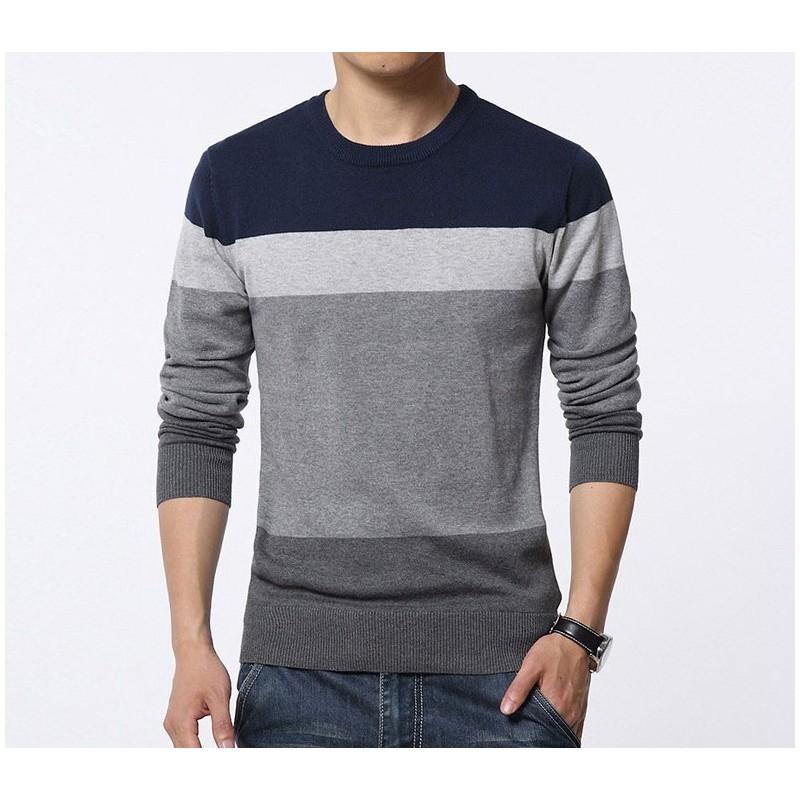 85a95b4f7 Camiseta Blusão Listrada de Inverno Masculina Manga Longa em Lã
