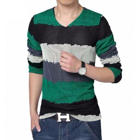 Camiseta Verde Gola V Listrada Manga Longa Tricotada Clássica Festa Clube