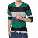 V-Neck T-Shirt Green Long Sleeve Striped Knitted Classic Party Club
