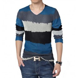 V-Neck T-Shirt Blue Long Sleeve Striped Knitted Classic Party Club