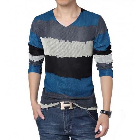 Camiseta Azul Gola V Listrada Manga Longa Tricotada Clássica Festa Clube