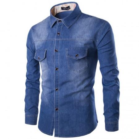 Camisa Jeans Azul Jaqueta Masculina Casual Esportiva Elegante Manga Longa