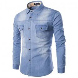 Camisa Jeans lavado Azul claro Jaqueta Masculina Casual Esportiva Elegante Manga Longa