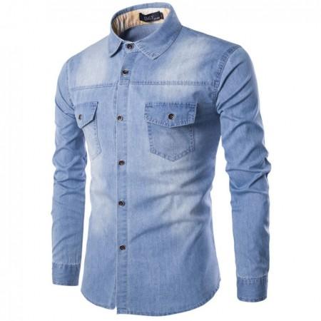 ae959cffc6fd33 Camisa Jeans lavado Azul claro Jaqueta Masculina Casual Esportiva Elegante  Manga Longa