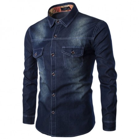 Shirt Jeans Navy Blue Jacket Men's Casual Sports Stylish Long Sleeve