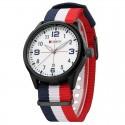 Relógio Branco Masculina Tecido Casual Jovem Esportivo da Moda Pulseira Colorida