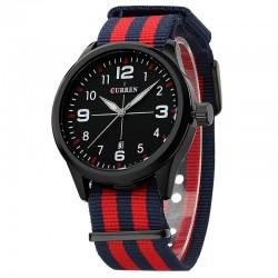 Relógio Vermelho Branco Masculina Tecido Casual Jovem Esportivo da Moda Pulseira Colorida