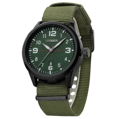 Watch Green White Men's Fabric Casual Young Sports Fashion Color Bracelet