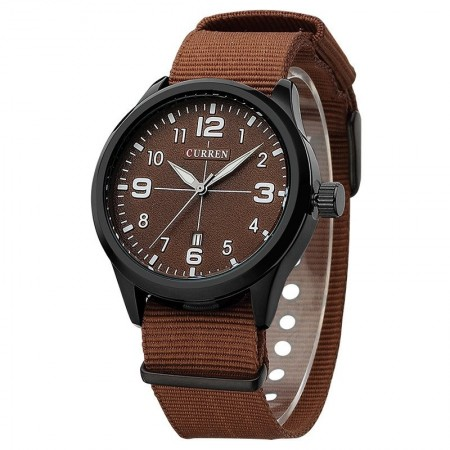 Watch White Men's Brown Fabric Casual Young Sports Fashion Color Bracelet