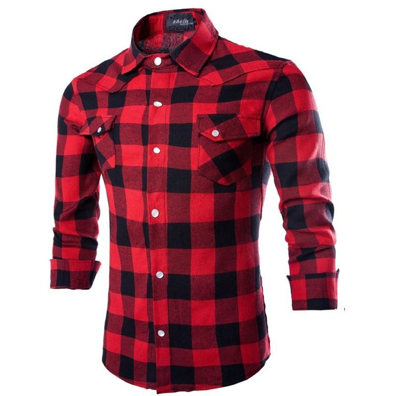 Camisa Xadrez Vermelha Masculina Manca Longa Elegante