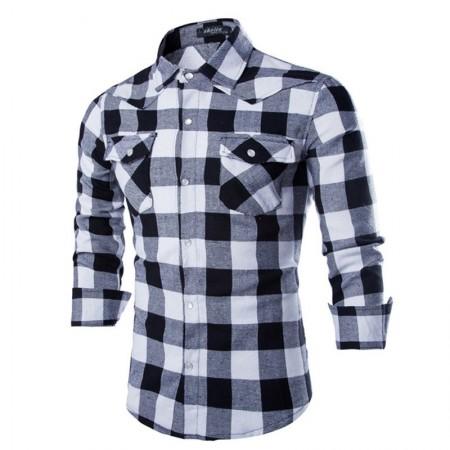 Camisa Xadrez Cinza Masculina Manca Longa Elegante Festa Clube