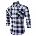 Shirt Men's Gray Plaid Manca Long Elegant Party Club