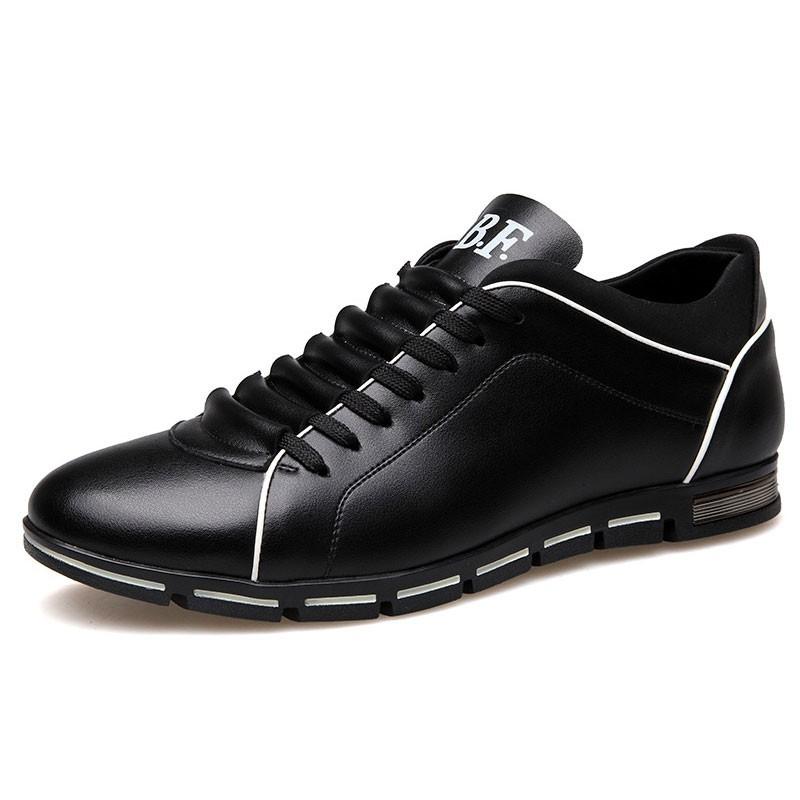 b994932e5f Sapatenis Social Masculino em Couro Preto Calçados Elegante Sapato Casual.  Loading zoom