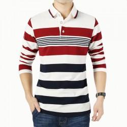T-Shirt Polo Striped Stylish Men's Long Sleeve