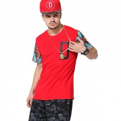 Fashion T-Shirt Red Urban Hip Hop Men's Funk Kings Casual Summer