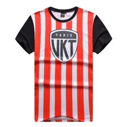 Camiseta Listrada Preta e Laranja Masculinas Balada Funk Urbana Música Hip Hop