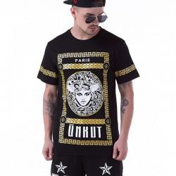 Camiseta Medusa Last Kings Dourada Masculinas Balada Funk Urbana Música Hip Hop