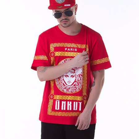 Camiseta Medusa UNKUT Vermelha Masculinas Balada Funk Urbana Música Hip Hop