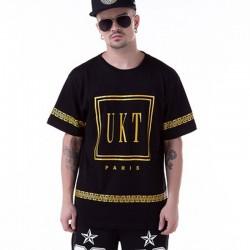 Camisetas UNKUT Dourado Masculina Balada Funk Casual Esporte Fino Hip Hop