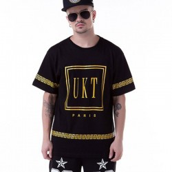 T-Shirts Golden UNKUT Men's Ballad Funk Casual Slim Fit Hip Hop