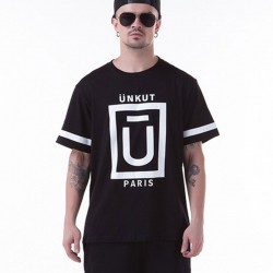 T-Shirts Black UNKUT Men's Ballad Funk Casual Slim Fit Hip Hop