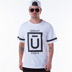 T-Shirts White UNKUT Men's Ballad Funk Casual Slim Fit Hip Hop
