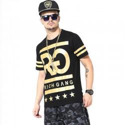 Camiseta RICH GANG Masculina Balada Funk e Hip Hop Dourada Ouro