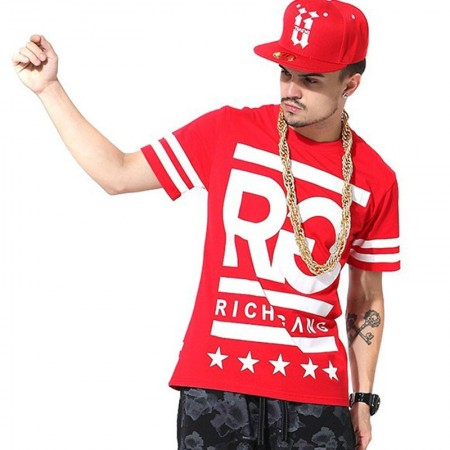 Camiseta RICH GANG Vermelha Masculina Balada Funk e Hip Hop