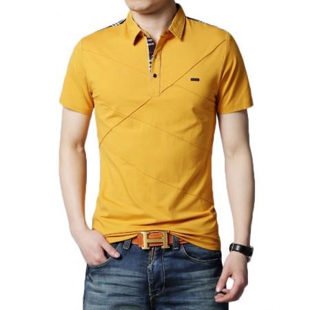 Camisa Polo Casual Retalhos Masculino Esporte Fino