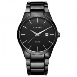Fine Classical Men's Black Watch Elegant Formal Minimalist Dark Sophisticated