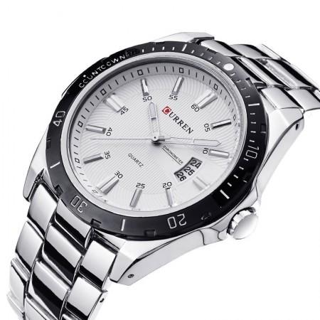 Relógio Esporte Branco Clássico Inoxidável Masculino Grande em Quartzo