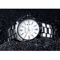 Men's Classic White Stainless Steel Sport Watch Large Quartz