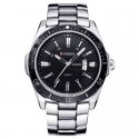 Men's Classic Silver Stainless Steel Sport Watch Large Quartz