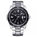 Relógio Esporte Prata Clássico Inoxidável Masculino Grande em Quartzo