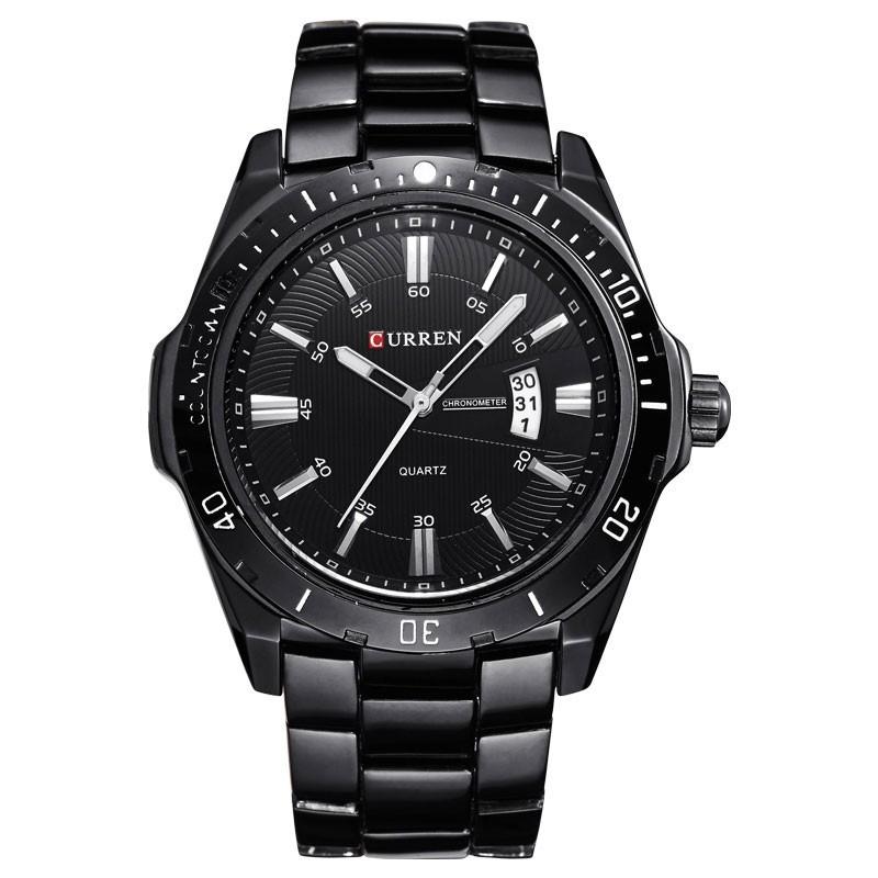 4ed6666745e Relógio Esporte Preto Clássico Inoxidável Masculino Grande em Quartzo