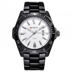 Men's Classic Black Stainless Steel Sport Watch Large Quartz