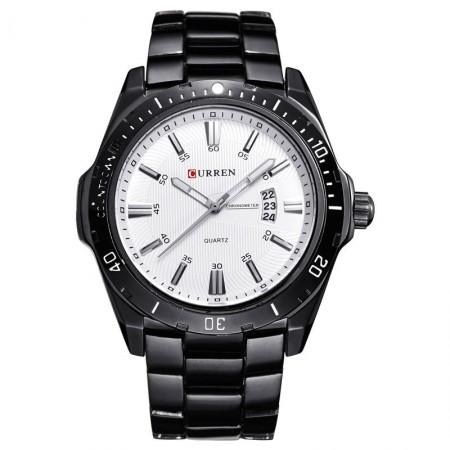 Relógio Esporte Preto Clássico Inoxidável Masculino Grande em Quartzo