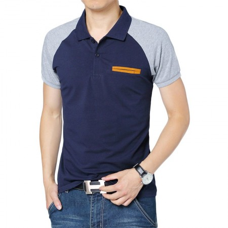 Camisa Polo Casual Retalhos Masculino Elegante