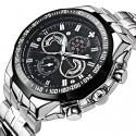 Relógio Quartz Luxo Aço Inoxidável Esporte Masculino Elegante