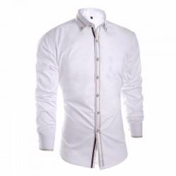Camisa Slim Social Lisa Branca Elegante Casual Masculina de Botão Manga Longa