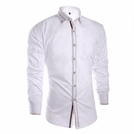 Camisa Slim Social Lisa Branca Elegante Casual Masculina de Botão Masnga Longa