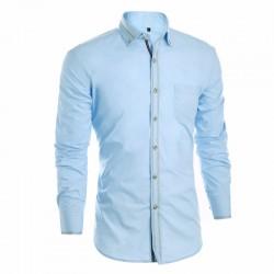 Camisa Slim Social Lisa Azul Claro Elegante Casual Masculina Manga Longa