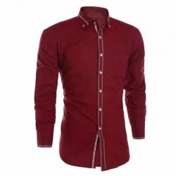 Camisa Slim Social Lisa Vermelha Elegante Casual Masculina de Botão Manga Longa